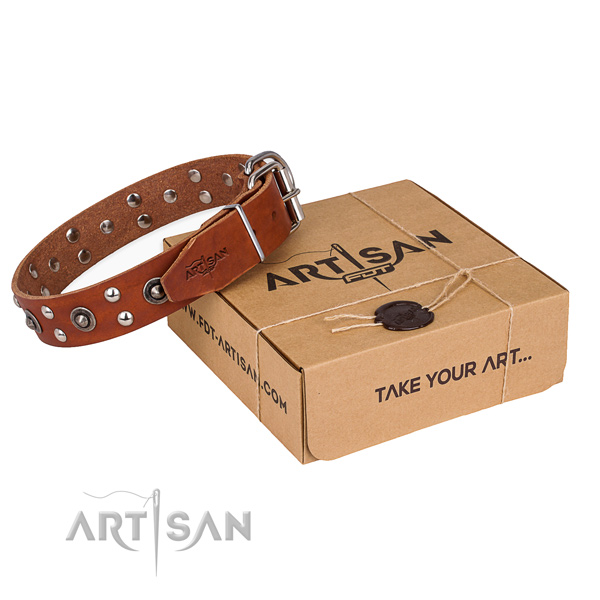 Rust resistant D-ring on full grain leather collar for your impressive dog