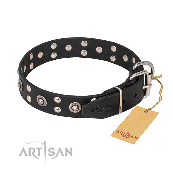 Durable hardware on leather collar for your beautiful doggie