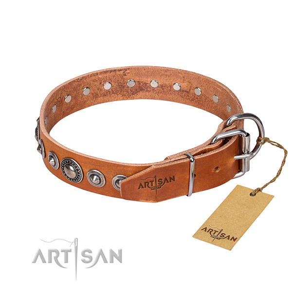 Full grain leather dog collar made of flexible material with durable adornments
