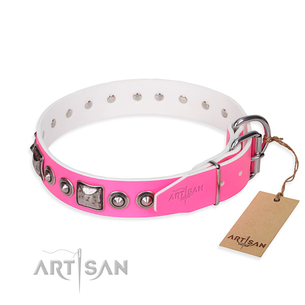 Durable leather dog collar created for comfortable wearing