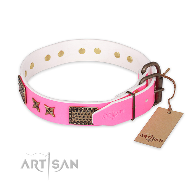 Reliable hardware on full grain genuine leather collar for your lovely dog