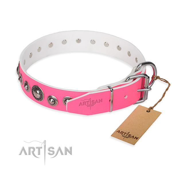 Genuine leather dog collar made of best quality material with corrosion proof studs