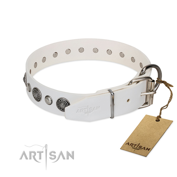 Durable genuine leather dog collar with corrosion proof fittings