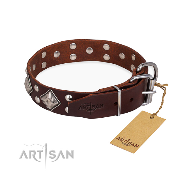 Full grain genuine leather dog collar with amazing corrosion resistant embellishments
