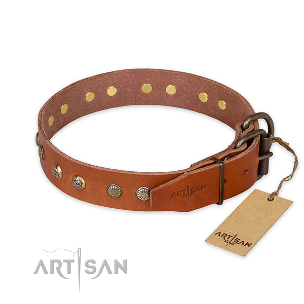 Durable fittings on full grain genuine leather collar for your lovely four-legged friend