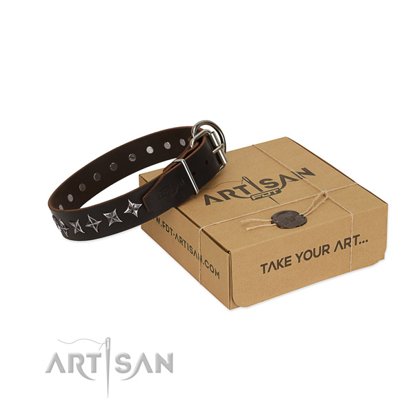 Easy wearing dog collar of strong full grain natural leather with adornments