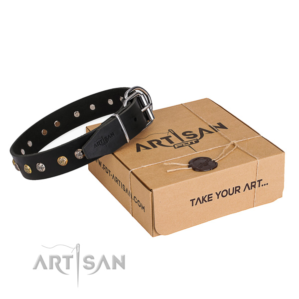 Strong natural genuine leather dog collar handcrafted for everyday walking