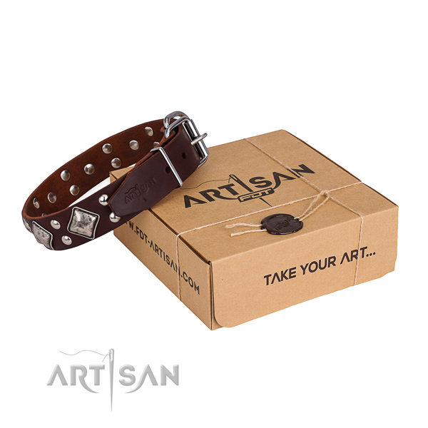 Handy use dog collar with Trendy rust-proof adornments
