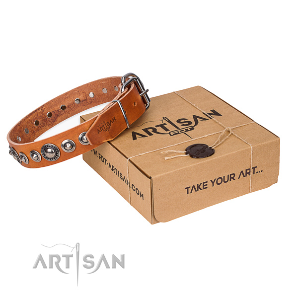 Full grain natural leather dog collar made of gentle to touch material with rust resistant D-ring