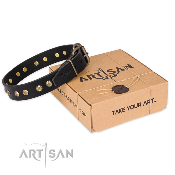 Durable buckle on full grain genuine leather collar for your stylish pet