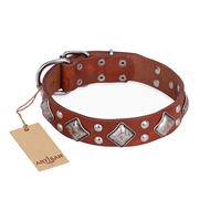 """Magic Squares"" FDT Artisan Tan Leather English Bulldog Collar with Silver-like Decor"