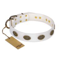 """Lovely Lace"" FDT Artisan White Leather English Bulldog Collar with Old Bronze Look Ovals"