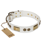 """Golden Avalanche"" FDT Artisan White Leather English Bulldog Collar with Old Bronze Look Plates and Circles"