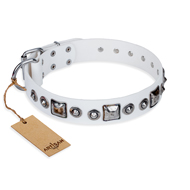 """Lustre of Fame"" FDT Artisan White Studded Leather English Bulldog Collar"
