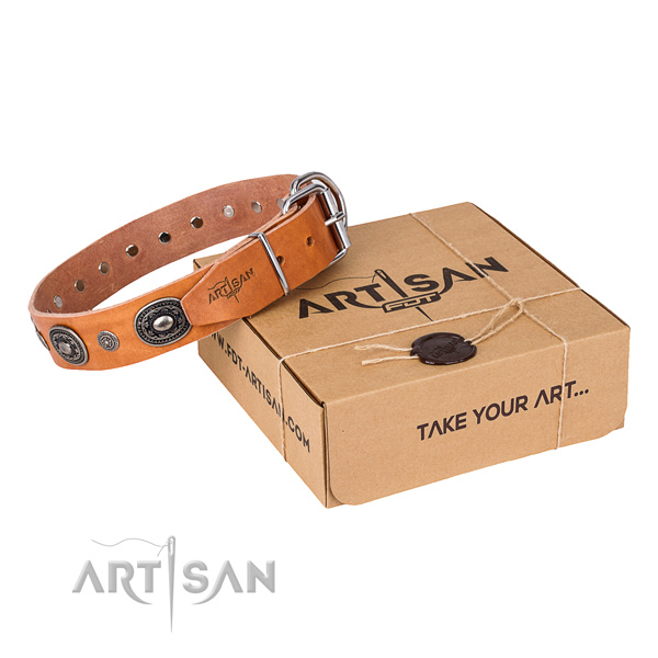Reliable genuine leather dog collar handmade for fancy walking