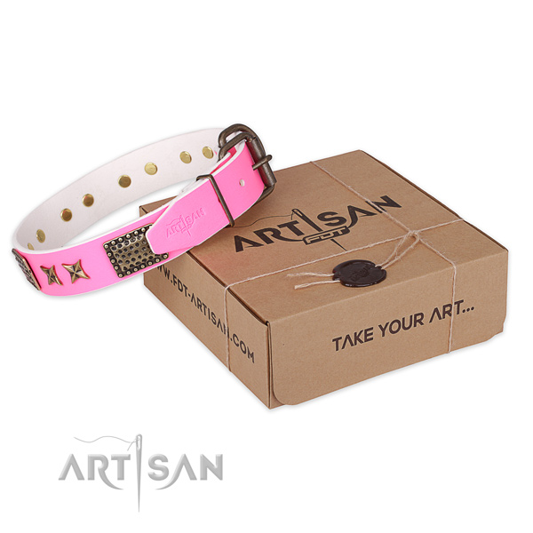 Reliable traditional buckle on full grain genuine leather collar for your stylish four-legged friend