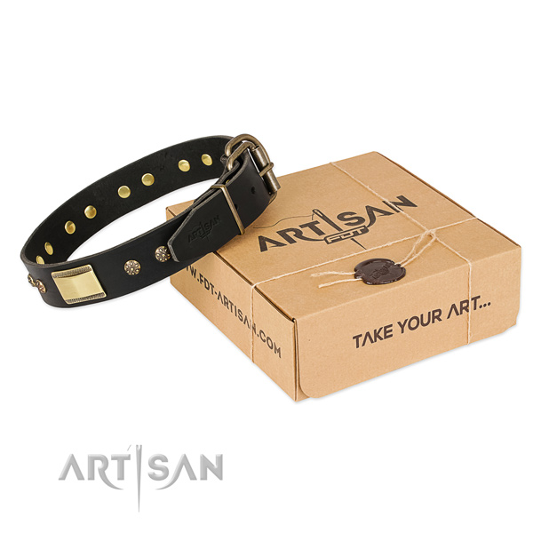 Top quality natural leather collar for your impressive canine