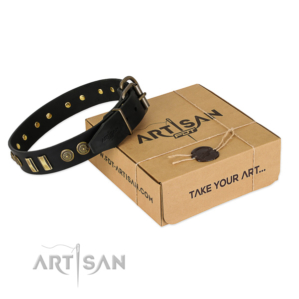 Corrosion resistant adornments on full grain leather dog collar for your pet