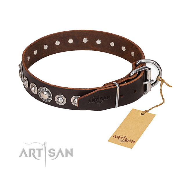 Full grain genuine leather dog collar made of top rate material with durable D-ring