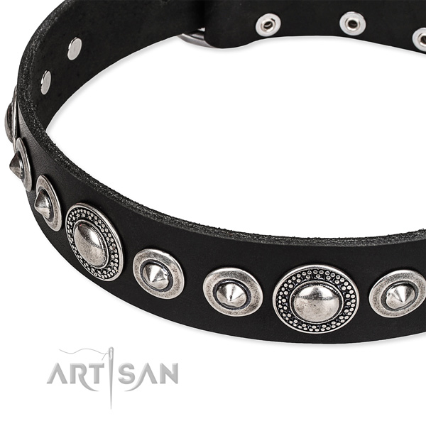 Comfortable wearing decorated dog collar of strong full grain genuine leather