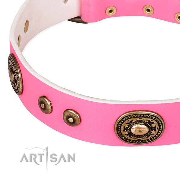 Leather dog collar made of best quality material with adornments