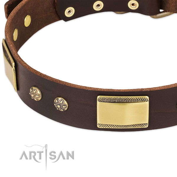 Corrosion resistant hardware on full grain genuine leather dog collar for your canine