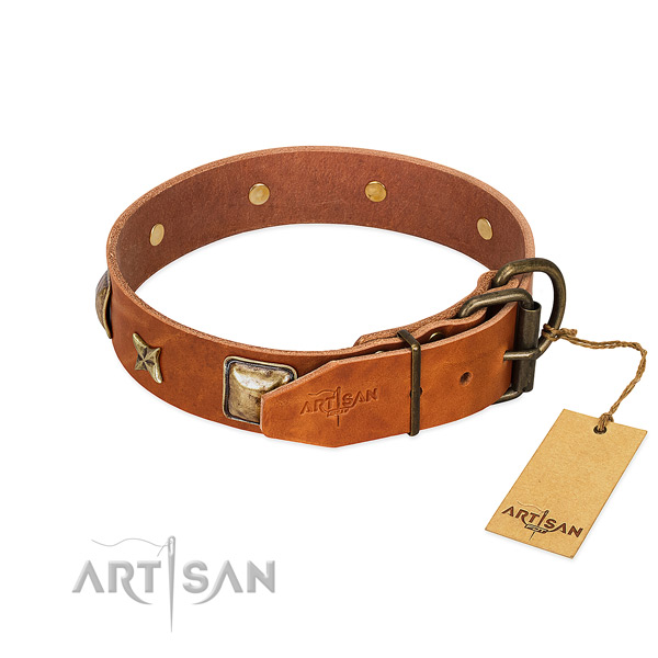 Full grain leather dog collar with rust-proof buckle and embellishments