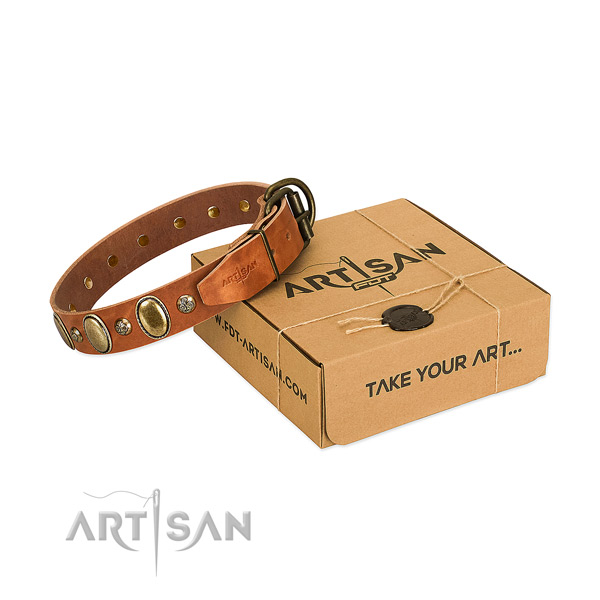 Handcrafted full grain genuine leather dog collar with durable traditional buckle