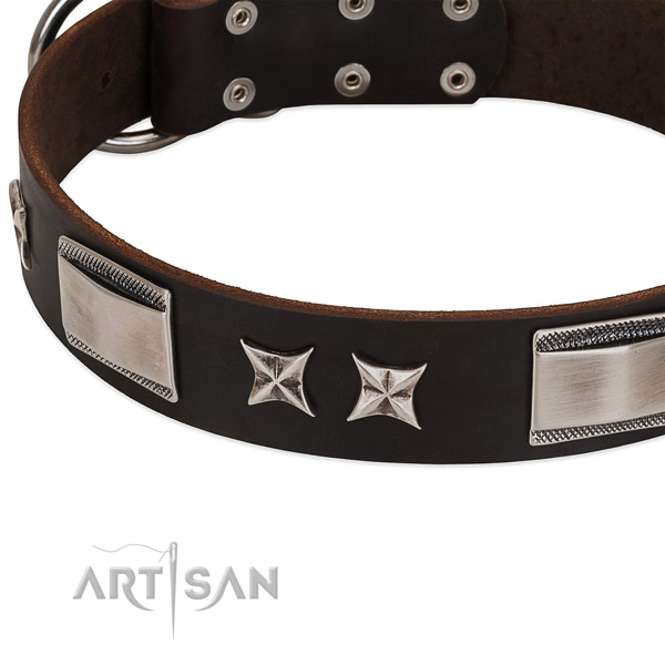 Soft to touch full grain leather dog collar with strong hardware