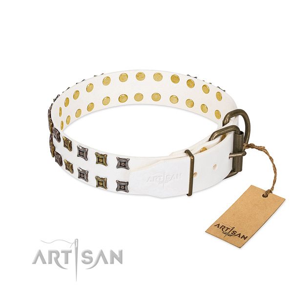 Full grain genuine leather collar with designer studs for your doggie
