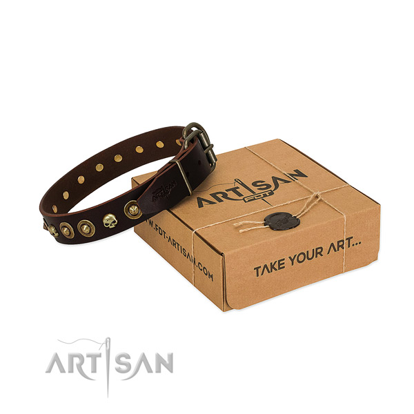 Full grain genuine leather collar with inimitable studs for your canine