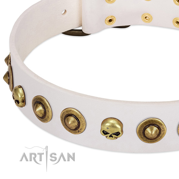 Exquisite embellishments on natural leather collar for your dog