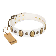"""Nifty Doodad"" FDT Artisan White Leather English Bulldog Collar with Amazing Large Ovals and Small Studs"
