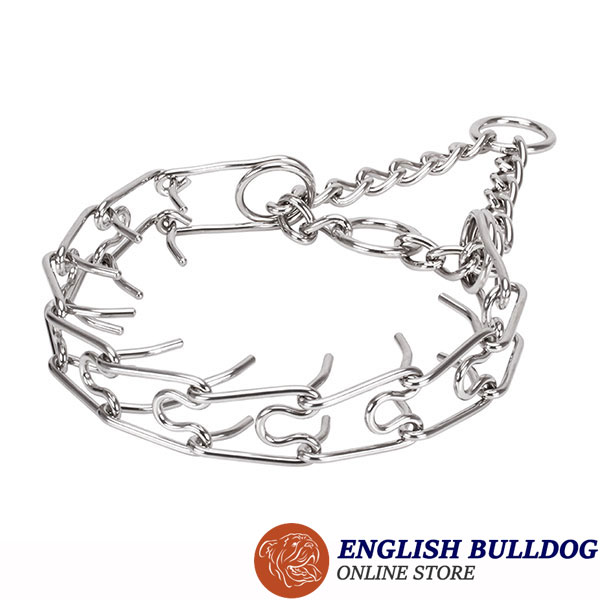 Durable stainless steel dog pinch collar for large canines