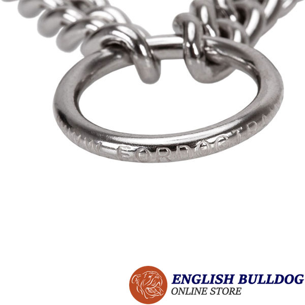 Dependable dog pinch collar of rust resistant stainless steel for large dogs