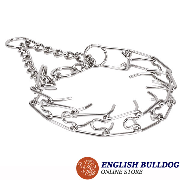 Rust proof dog prong collar with stainless steel removable prongs