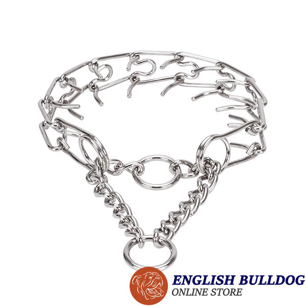 Strong stainless steel dog pinch collar with corrosion proof removable prongs