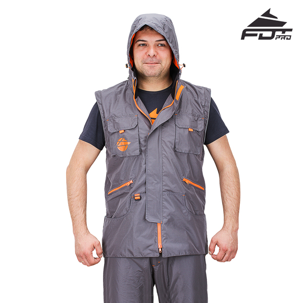 Dog Training Jacket of Grey Color FDT Pro Design with Hood