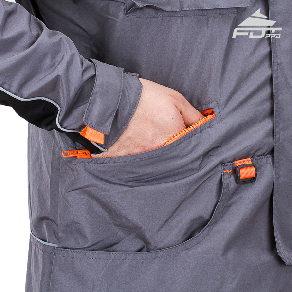 Grey Color FDT Pro Design Dog Tracking Jacket with Comfortable Side Pockets