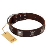"""Nut-Brown Finery"" Embellished FDT Artisan Brown Leather English Bulldog Collar with Chrome Plated Crossbones and Plates"