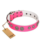 """Silver Drops"" Designer Handmade FDT Artisan Pink Leather English Bulldog Collar"