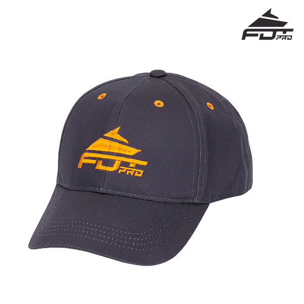One-size Dark Grey Color Cap with Orange Logo for Dog Walking