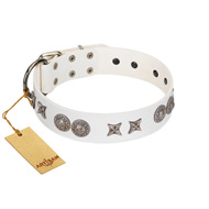 """Seventh Heavens"" FDT Artisan White Leather English Bulldog Collar with Chrome-plated Stars and Engraved Brooches"