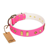 """Gentle Temptation"" FDT Artisan Pink Leather English Bulldog Collar with Goldish Plates and Studs"