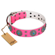 """Pink Delight"" FDT Artisan Pink Leather English Bulldog Collar for Everyday Walking"