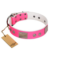 """Pink Blush"" Premium Quality FDT Artisan Pink Designer English Bulldog Collar with Plates and Studs"