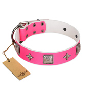 """Star World"" Gorgeous FDT Artisan Pink Leather English Bulldog Collar with Silver-Like Adornments"