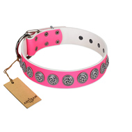 """Pink Garden"" Designer FDT Artisan Pink Leather English Bulldog Collar for Stylish Look"