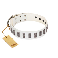 """Heaven's Gates"" Handmade FDT Artisan White Leather English Bulldog Collar with Silver-Like Engraved Plates"