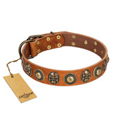 """Golden Epoch"" FDT Artisan Tan Leather English Bulldog Collar with Old Bronze-plated Medallions and Conchos"
